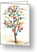 Holiday Notecard Greeting Cards - Christmas Spirit Christmas Tree Greeting Card by Michele Hollister - for Nancy Asbell