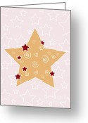Brown Drawings Greeting Cards - Christmas Star Greeting Card by Frank Tschakert