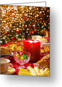Xmas Greeting Cards - Christmas table set Greeting Card by Carlos Caetano