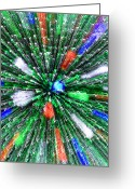 Pyrotechnics Digital Art Greeting Cards - Christmas Tree Abstract-III Greeting Card by Dennis Tarnay Jr