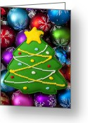 25th Greeting Cards - Christmas tree cookie with ornaments Greeting Card by Garry Gay