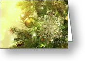 Shimmer Greeting Cards - Christmas tree decorations with sparkle background Greeting Card by Sandra Cunningham