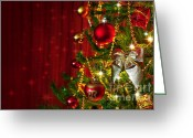 Starry Greeting Cards - Christmas Tree Detail Greeting Card by Carlos Caetano