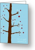 Brown Drawings Greeting Cards - Christmas Tree Greeting Card by Frank Tschakert