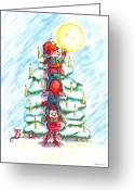 Aften Greeting Cards - Christmas Tree Greeting Card by Ghita Andersen