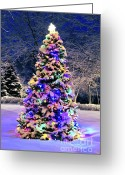 Lit Greeting Cards - Christmas tree in snow Greeting Card by Elena Elisseeva