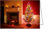 Fireplace Greeting Cards - Christmas Tree Greeting Card by Olivier Le Queinec