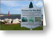 Beauty Mark Greeting Cards - Christmas Tree Ship Point at Algoma Harbor Greeting Card by Mark J Seefeldt