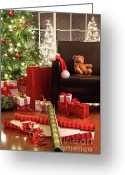  Wrapping Greeting Cards - Christmas tree with gifts Greeting Card by Sandra Cunningham