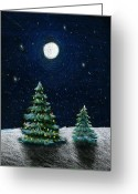 Colored Pencil Greeting Cards - Christmas Trees in the Moonlight Greeting Card by Nancy Mueller
