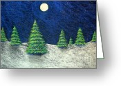 Christmas Trees Greeting Cards - Christmas Trees in the Snow Greeting Card by Nancy Mueller