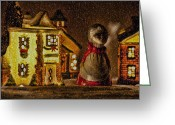 Wreaths Greeting Cards - Christmas Village Greeting Card by Bonnie Bruno