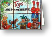 Jack-in-the-box Greeting Cards - Christmas Window Greeting Card by Linda Shackelford