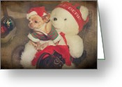 Toy Animals Greeting Cards - Christmas Zoe Greeting Card by Laurie Search