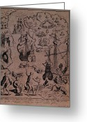Galleon Greeting Cards - Christopher Colombus discovering the islands of Margarita and Cubagua where they found many pearls Greeting Card by Spanish School