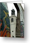 Westminster College Greeting Cards - Christopher Wren Church with Berlin Wall Segment Greeting Card by David Bearden