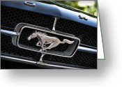 Ford Engine Greeting Cards - Chrome Stallion - Ford Mustang Greeting Card by Gordon Dean II