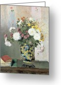Pisarro Greeting Cards - Chrysanthemums in a Chinese Vase Greeting Card by Camille Pissarro