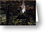 City Life Greeting Cards - Chrysler Building At New York City Greeting Card by Philippe Brunel