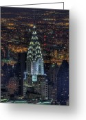 New York State Greeting Cards - Chrysler Building At Night Greeting Card by Jason Pierce Photography (jasonpiercephotography.com)