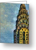 Urban Pastels Greeting Cards - Chrysler Building New York Greeting Card by Russ Harris