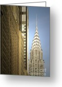 Metal Greeting Cards - Chrysler Building NYC - Streamlined majesty Greeting Card by Christine Till