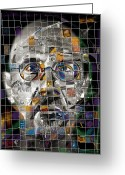Grid Mixed Media Greeting Cards - Chuck Close Greeting Card by Russell Pierce