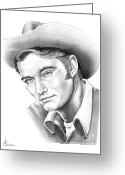 Cowboy Pencil Drawing Greeting Cards - Chuck Conners-Rifleman Greeting Card by Murphy Elliott