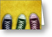 Sneakers Greeting Cards - Chucks Greeting Card by Abbey Staum