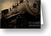 Locomotives Greeting Cards - Chugging Across America in The Age of Steam . Golden Cut . 7D12980 Greeting Card by Wingsdomain Art and Photography
