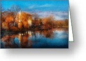 Autumn Scenes Greeting Cards - Church - Clinton NJ - Clinton United Methodist Church Greeting Card by Mike Savad