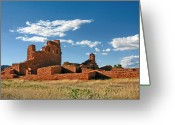White Clouds Greeting Cards - Church Abo - Salinas Pueblo Missions Ruins - New Mexico - National Monument Greeting Card by Christine Till
