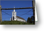 Barbed Wire Fences Photo Greeting Cards - Church And Barbed Wire Greeting Card by Garry Gay