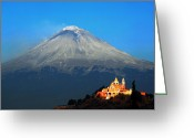Puebla Greeting Cards - Church and Volcano Greeting Card by Cristobal Garciaferro