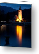 Lake Bohinj Greeting Cards - Church at dusk Greeting Card by Ian Middleton