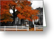 Autumn In The Country Photo Greeting Cards - Church in Autumn Greeting Card by Andrea Kollo