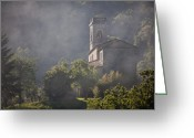 Steven Gray Greeting Cards - Church in Partigliano Greeting Card by Steven Gray