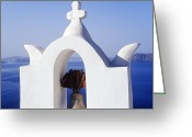 Thira Photo Greeting Cards - Church in Town of Thira Santorini Greeting Card by Jeremy Woodhouse