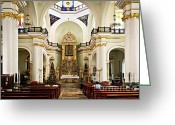 Benches Photo Greeting Cards - Church interior in Puerto Vallarta Greeting Card by Elena Elisseeva