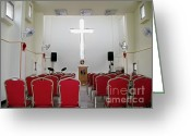 Speakers Greeting Cards - Church Interior Greeting Card by Yali Shi