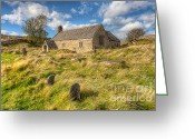 Graveyard Digital Art Greeting Cards - Church of Celynnin Greeting Card by Adrian Evans