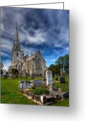 Graveyard Digital Art Greeting Cards - Church of Marble Greeting Card by Adrian Evans