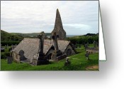Graveyards Greeting Cards - Church of St. Enodoc Greeting Card by Kurt Van Wagner