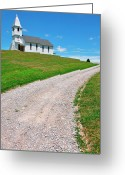 Winding Road Greeting Cards - Church on a Hill Greeting Card by Thomas R Fletcher