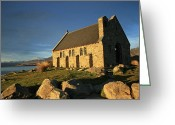 Lake Tekapo Greeting Cards - Church on Lake Tekapo Greeting Card by Mollie Jax