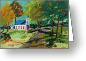 Autumn Landscape Pastels Greeting Cards - Church on the Bend landscape Greeting Card by John  Williams