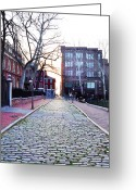 Philadelphia Greeting Cards - Church Street Cobblestones - Philadelphia Greeting Card by Bill Cannon