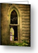 Unused Greeting Cards - Church Window Church Bell Greeting Card by Lois Bryan