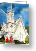 Arcadia Greeting Cards - Church with Jet Contrail Greeting Card by Kip DeVore