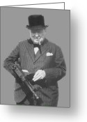 British Digital Art Greeting Cards - Churchill Posing With A Tommy Gun Greeting Card by War Is Hell Store